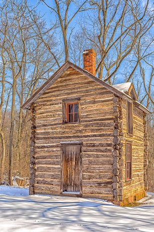 Cabin After Snow
