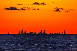 Chicago Skyline Silhouetted at Sunset