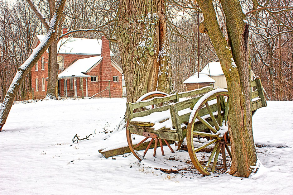 Nineteenth-Century Farm After Snowfall