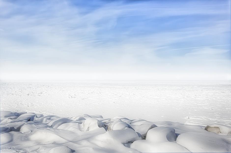 Haze over Frozen Lake Michigan