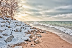 Lake Shore After Light Snow
