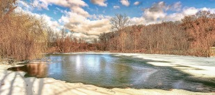 Partly Frozen Pond in Early December