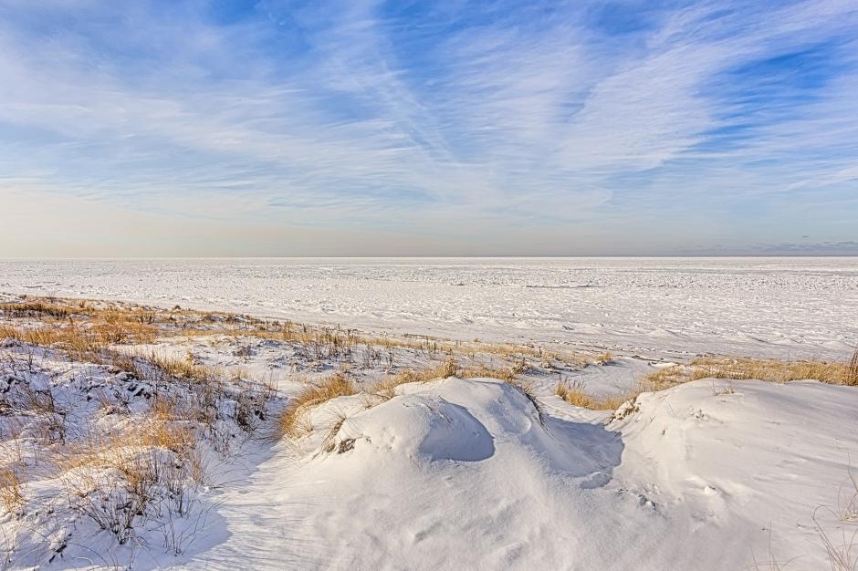 Path Through Foredunes to Frozen Lake