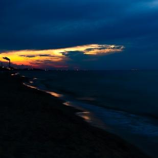 Shoreline Smokestack at Sunset in September