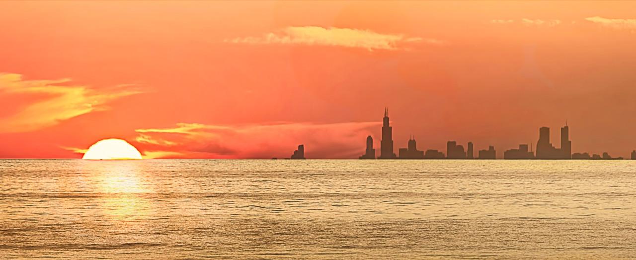 Sunset Beside Chicago Skyline