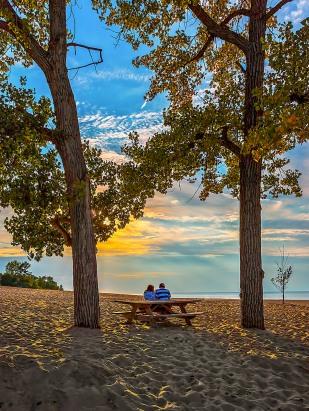 Warm Autumn Evening at Lake Michigan