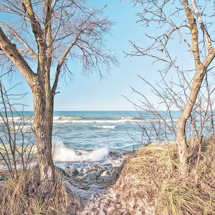 Trail End at Lake Michigan in December
