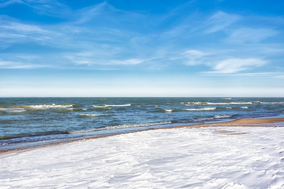 Dudley Beachfront After Overnight Snow