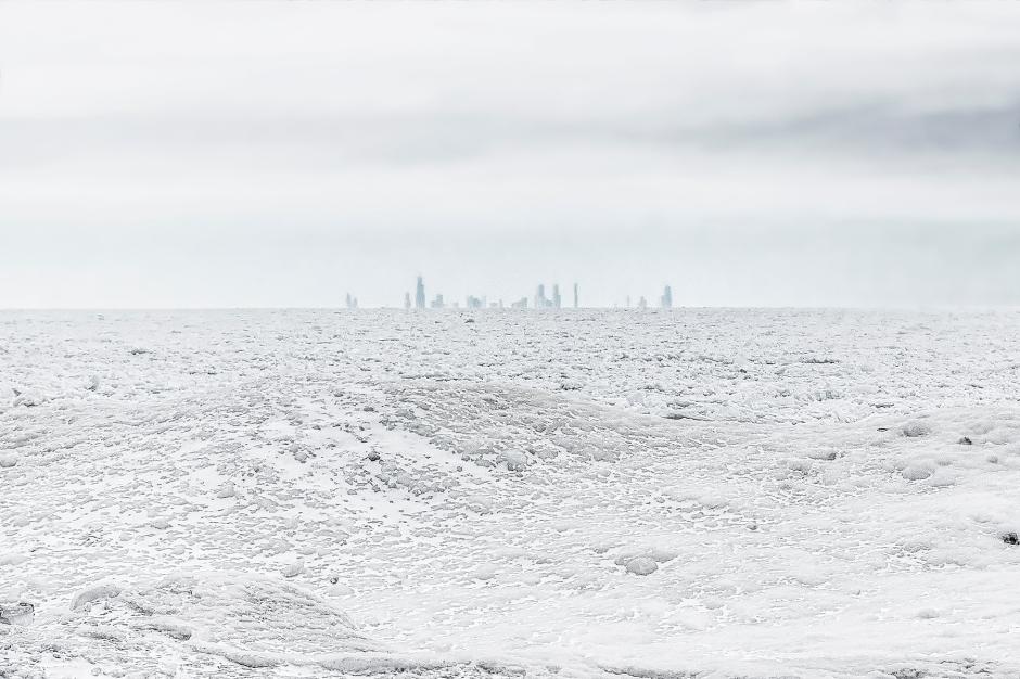 Chicago Skyline Beyond Frozen Lake Michigan