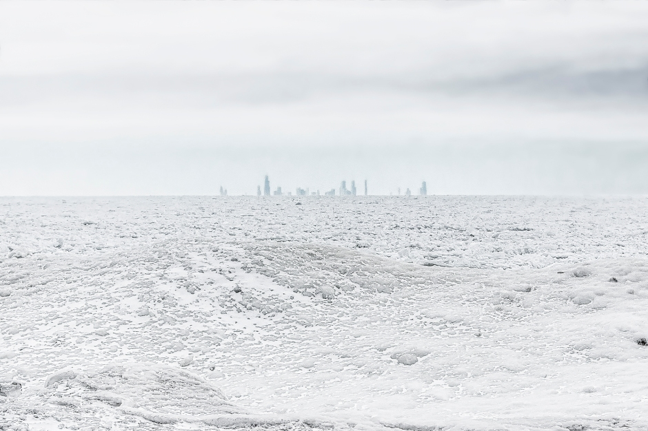 Chicago Skyline Beyond Frozen Lake Michigan