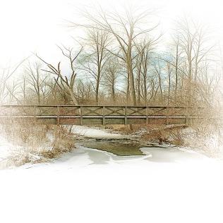 Footbridges After Snowfall sq
